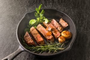 high-quality Japanese beef steak sizzl